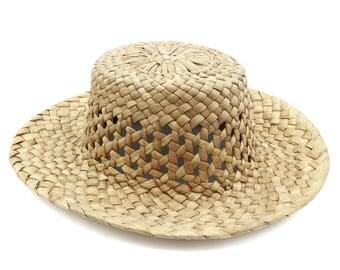 Straw Sun Hat, Woven Straw Hat, Wide Brim Beach Hat, Handmade Caribbean Hat, Natural Organic Hat, Beige Straw Hat, Vegan Sun Hat, Size XS S