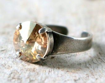 Golden Shadow Ring   Swarovski Crystal Ring   Minimalist Ring   Gift For Her   Bridal Jewelry   Wedding Jewelry   Golden Wedding   Golden