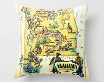 Alabama Gifts for Her, Alabama Pillow Cover 18x18, Alabama Home, State Gifts, Alabama Map Pillow, Alabama Pillow Alabama State