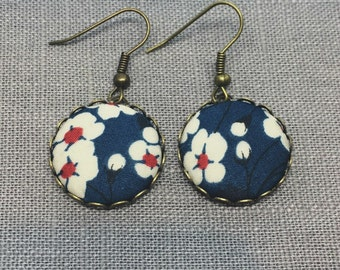 Liberty Fabric Earrings in Mitsi Navy