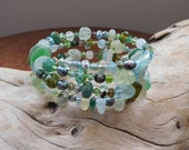 RESERVED!  Genuine sea glass - beach glass bracelet. RESERVED  Easy fit memory wire.  For Boho mermaids.  RESERVED