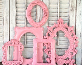 Victorian Pink Empty Wall Frame Gallery - 5 Pc Shabby Cottage Chic Pink Wall Decor - Romantic French Inspired Baroque