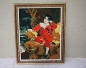 Large Vintage Framed Needlepoint The Red Boy by Lawrence