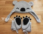 PATTERN Instant Download Koala Hat and Booties baby Crochet Halloween Photo Prop Shower Gift