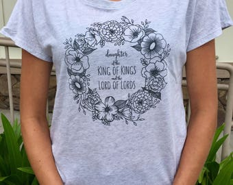 "Hand drawn ""Daughter of the King of Kings and the Lord of Lords,"" womens tri-blend tshirt- heathered light ash grey with charcoal grey desig"