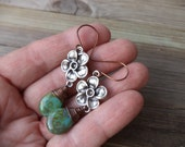 Flowers and Copper Earrings with Green Briolettes Copper Dangle Drop Earrings Flower Jewelry Made in Texas