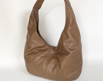 Brown Leather Hobo Bag, Fashion Slouchy Handbags, Handmade Woman Purse Alice