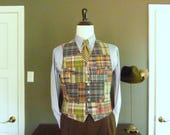 RARE Vintage POLO by Ralph Lauren 100% Cotton Authentic Indian Patch Madras Vest or Waistcoat Size M | 42 R. Made in China.
