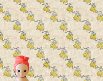 Kowhai Flowers on Linen Dollhouse Wallpaper Download