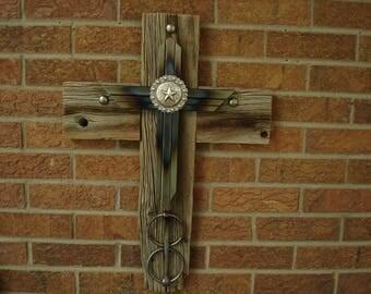 Rustic cross, barnwood cross, western cross, reclaimed material cross, mixed media cross
