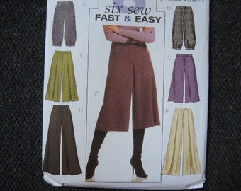 2006 sewing pattern Butterick 4861 misses pants and gaucho pants UNCUT size 6-8-10-12