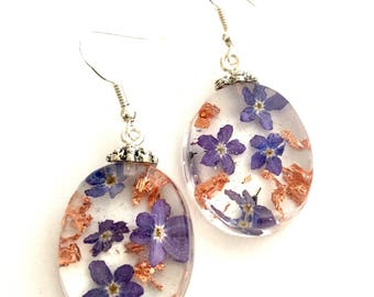 Real Pink Flower Gold Flakes Dangling Earrings with Sterling Silver hooks