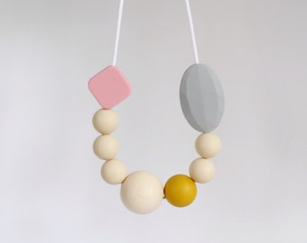 Teething Necklace, BPAfree chewable silicone beads with natural round wooden bead by Mustard & Mint. Mothers Day.