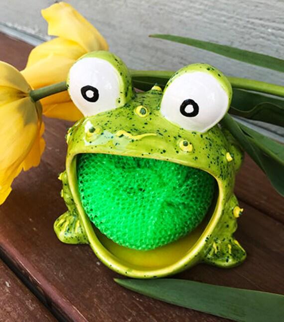 Salegreen frog scrubbie ceramic frog frog soap holder - Frog sponge holder kitchen sink ...