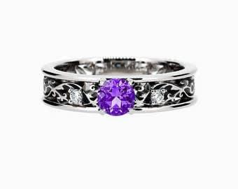 amethyst  engagement ring, filigree, engagement ring, Diamond, wedding ring, amethyst, filigree engagement, white gold, nickel free, purple