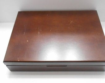 Vintage Double Hinged Wooden Box (BP) (T) Repurposing Project