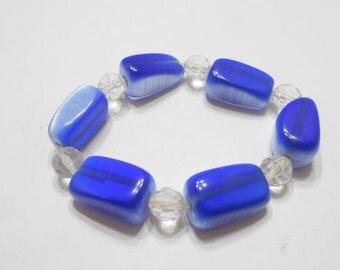 Vintage Crystal & Cobalt Blue Glass Stretch Bracelet (5487)