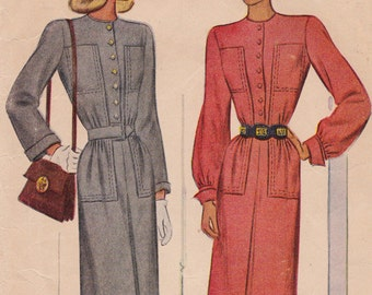 "RARE 1946 Misses' Dress with Button Front Bodice Pocket Designs Vintage Sewing Pattern [McCall 6682] Size 14, Bust 32"" Partially Cut"