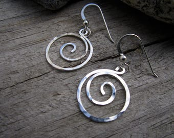 Sterling Whirlpool Earrings - Charm Holder Earrings - Free Form Sterling Wire Work