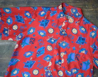 Silk Baseball Print Button Down Shirt