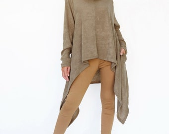 NO.189 Dusty Light Brown Knitted Cowl Neck Long Sleeves Sweater, Knit Asymmetric Sweater, Women's Sweater