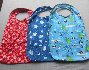 Christmas Penguin MEDIUM REVERSIBLE BIBS with Pocket and Velcro Fastners