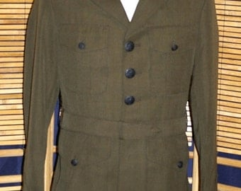 ON SALE Vintage 1988 US Marine Corps Navy Garbardine Army Green Military Jacket Coat Size 38R New Old Stock! Excellent!