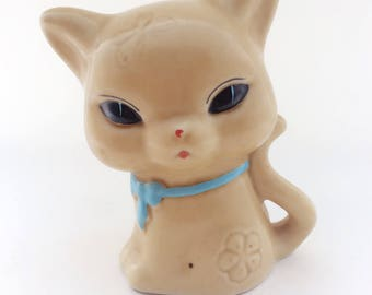 Sweet Kitsch 1950's Cat Moneybox- Mid Century Money Bank Ornament- Vintage Retro Style- Gift 1960's Handpainted Piggy Bank
