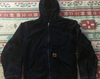 Vintage Dark Navy Blue Thick Carhartt Winter Coat (Free US Shipping)