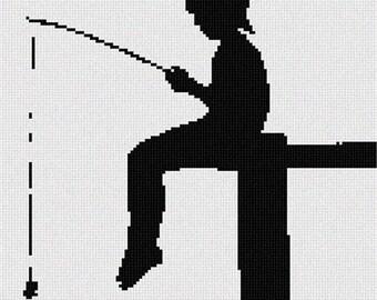 Needlepoint Kit or Canvas: Boy Fishing