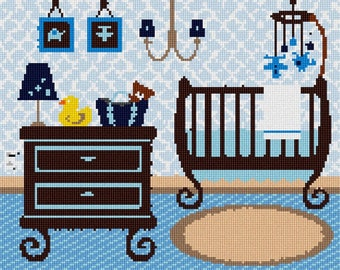 Needlepoint Kit or Canvas: Baby Boy Nursery