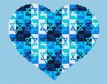 Needlepoint Kit or Canvas: Heart Jewish Star