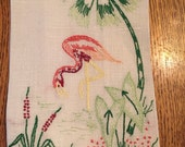 Vintage Hand Embroidered Pink Rose and Green Flamingo Tea Towel