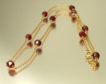 Antique Edwardian / Art Deco, rolled gold and garnet glass chain necklace -  jewellery jewelry