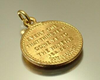 Vintage antique Edwardian 1900s,  Art Nouveau Christian religious, gilt metal, Bible verse, Biblical charm pendant - jewellery jewelry
