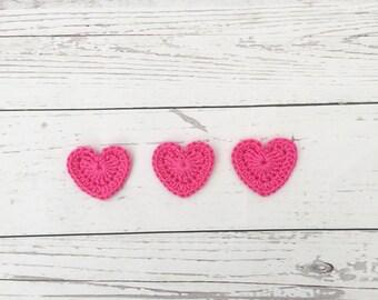 appliqués hearts | handmade heart | valentine heart | wedding decorations | crocheted hearts