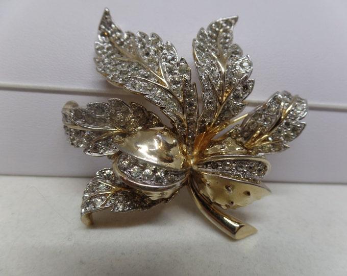 JOMAZ Signed Vintage Sparkling Ice Leaf Brooch