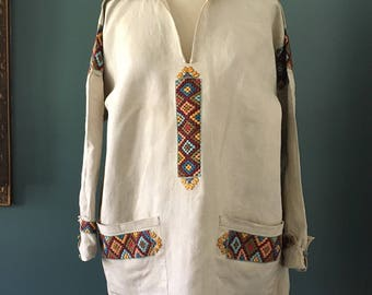 1920s Ecru Linen Tunic with Embroidery, Linen Tunic with Sailor Collar, Arts & Crafts Tunic with Hand Woven Cross Stitch Embroidered,