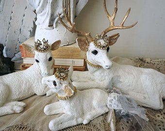 White deer statue set French Nordic painted buck family fawn doe figures accented w/ gold crowns farmhouse home decor anita spero design