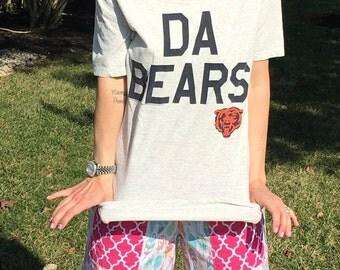Women's Grey Chicago Bears Off The Shoulder Tee Top Shirt Medium