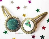 Christmas hair clip holly christmas wreath xmas tree winter panda - 4 patterns