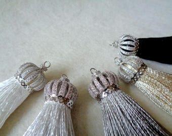 Silk Tassel, Zirconia Micro Pave Cap Tassel Pendants, Jewelry Making Tassels, Tassels