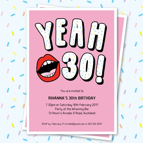 30th Birthday Invitation Sassy Yeah 30 Lips Editable Invitation