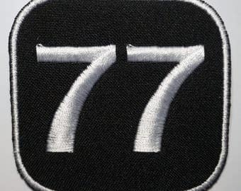 Number 77  - embroidered patch, BUY3 GET4, 2,4 X 2,4 INCH