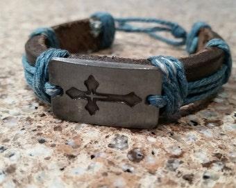 Engraved Cross Bracelet, Silver Metal Cross Panel, Brown Leather Bracelet, Blue Hemp Rope, Wrapped Leather, Rope Bracelet, Surfer Bracelet