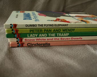 Vintage Hard Cover Walt Disney Storybooks Childrens  Dumbo, Peter Pan, Snow White, Cinderella, Lady and the Tramp