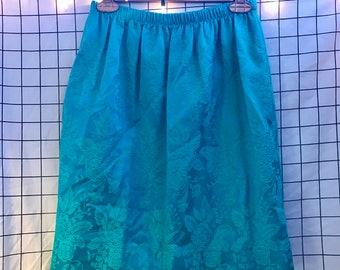 Vintage Knee Length Mini Silky Brocade Floral Turquoise Skirt