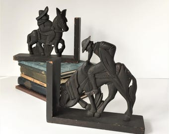 Literary Bookends, Vintage Don Quixote and Sancho Panza Bookends, Wooden Bookends, Rustic Folk Art Bookends, Miguel de Cervantes