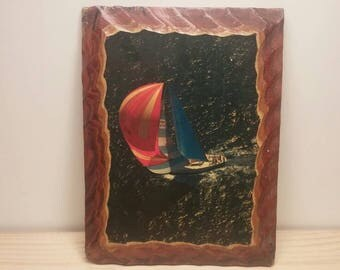 Fabulous Vintage Hand Made Sailboat Print on Hand Chunked Plywood 1950s Poly Covered Wall Hanging