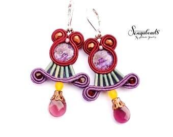 Soutache earrings in oxblood and purple.  Sterling silver leverback earring hooks.  Soutache jewelry. Soutache earrings. Gift for her.
